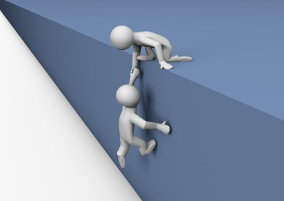 render of a person helping another climb a wall